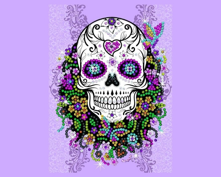 The Brand New Floral Skull from the Sequin Art Teen Craft Range