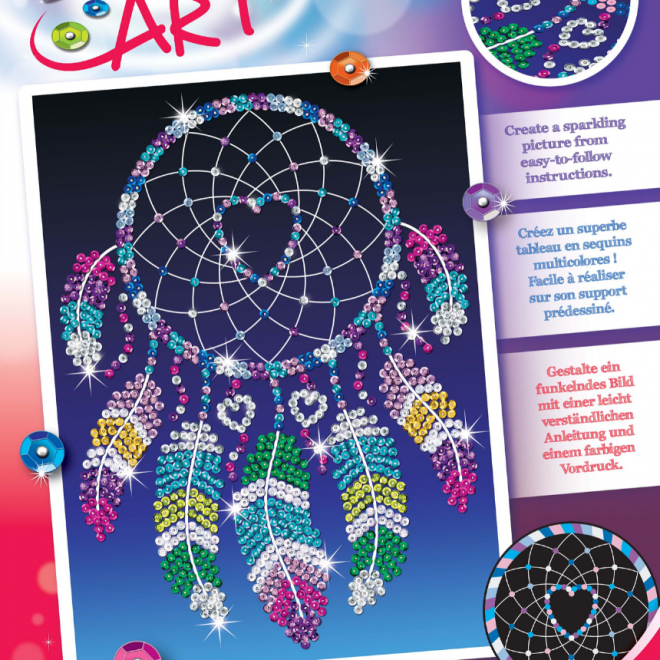 Sequin Art Dreamcatcher Heart craft project
