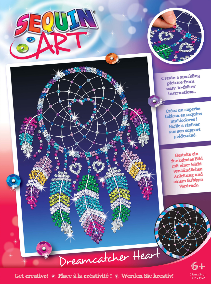 Sequin Art Dreamcatcher Heart craft project