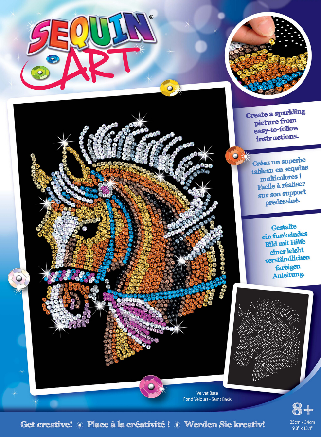 Sequin Art Horse craft kit from the Blue range