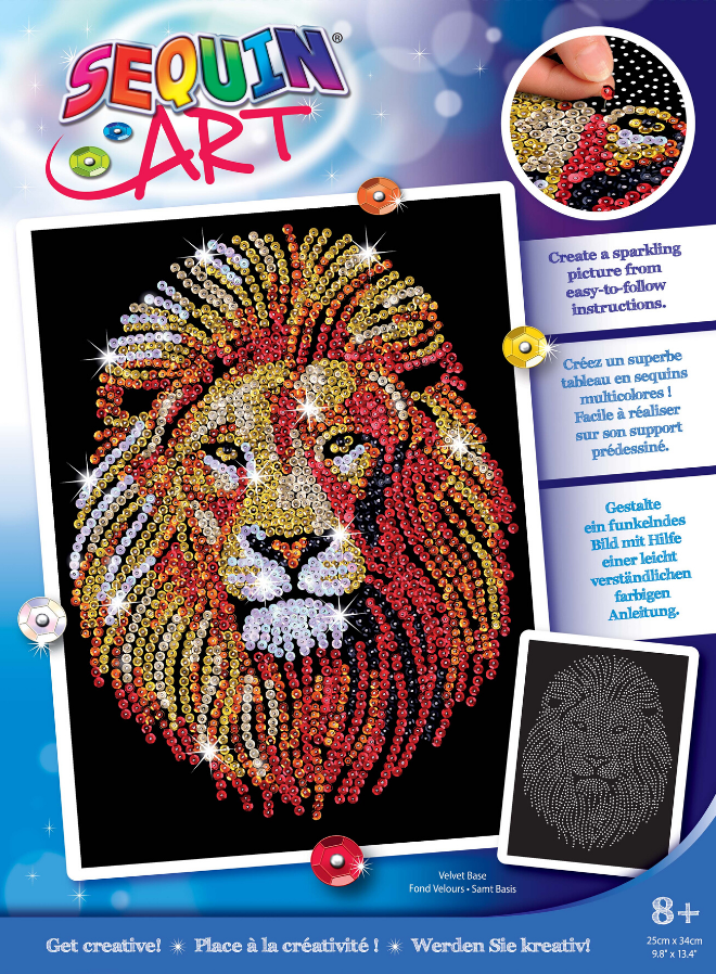 Sequin Art Lion craft kit from the Blue collection