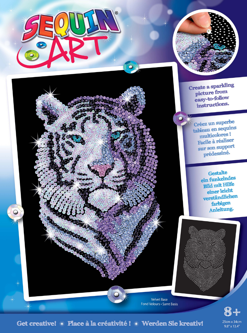 Sequin Art Snow tiger arts and crafts kit