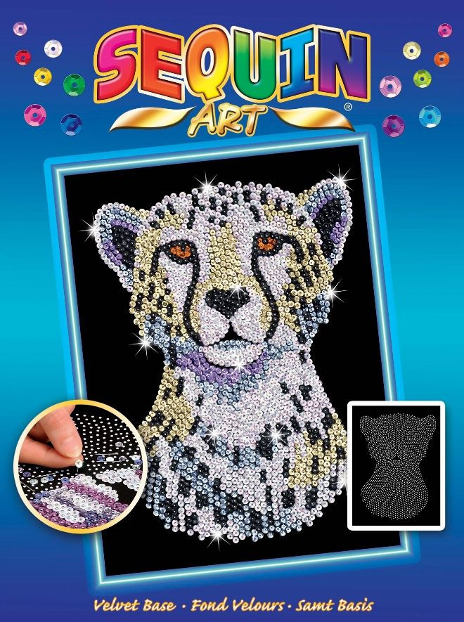 Sequin Art Snowy Cheetah craft project from the Blue range