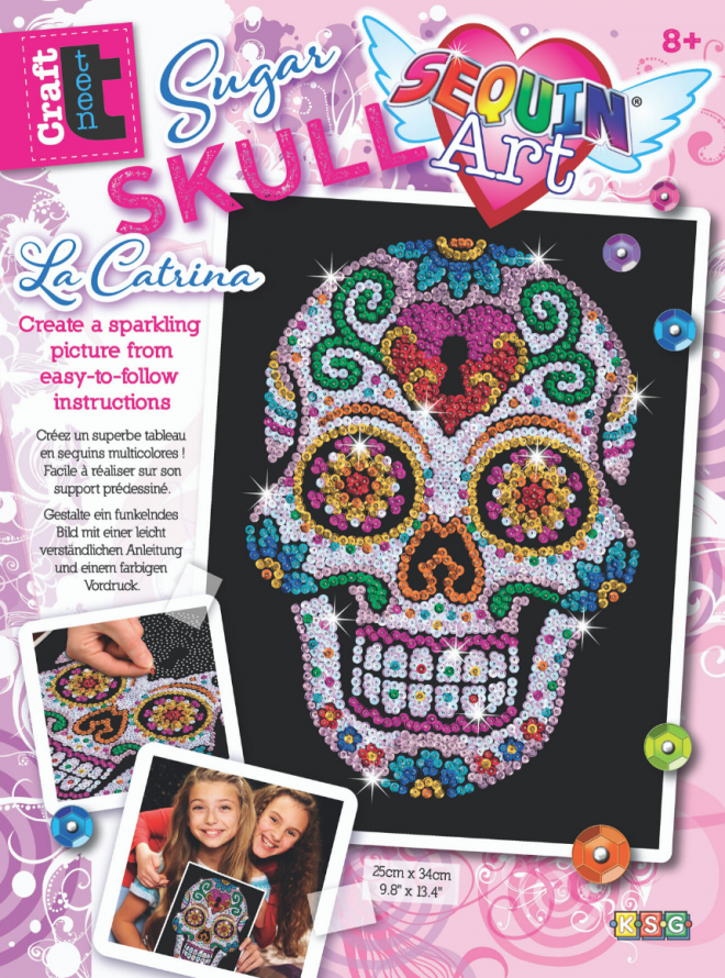 Sequin Art Sugar Skull craft project from the Craft Teen range