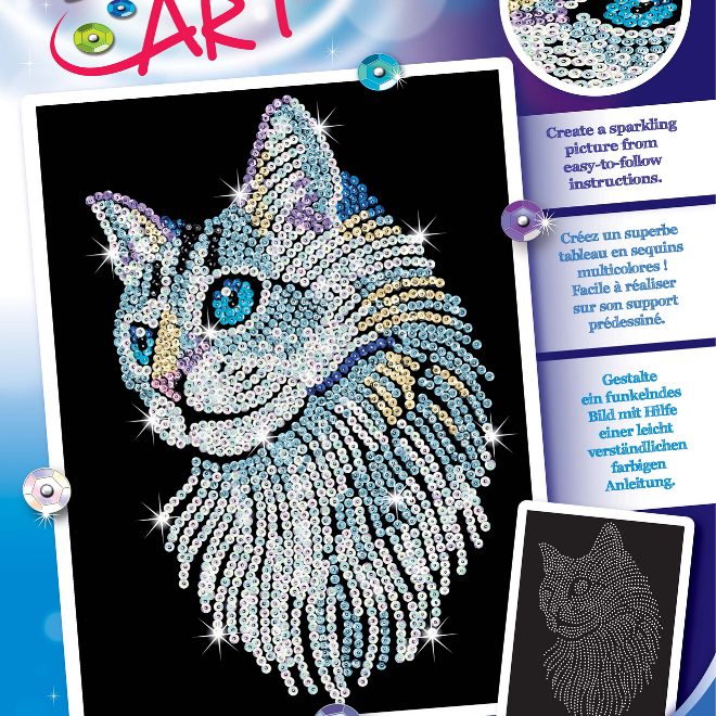 Sequin Art White Cat craft set from the Blue range