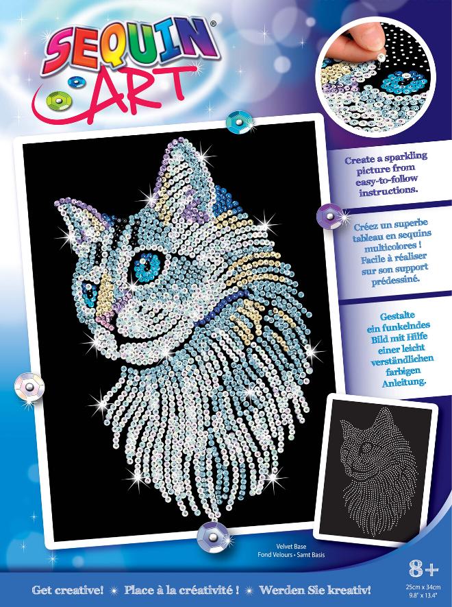 Sequin Art White Cat craft set from the Blue range
