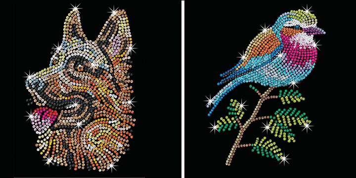 New Designs. German Shepherd And Lilac Breasted Roller in The Sequin Art Blue Range