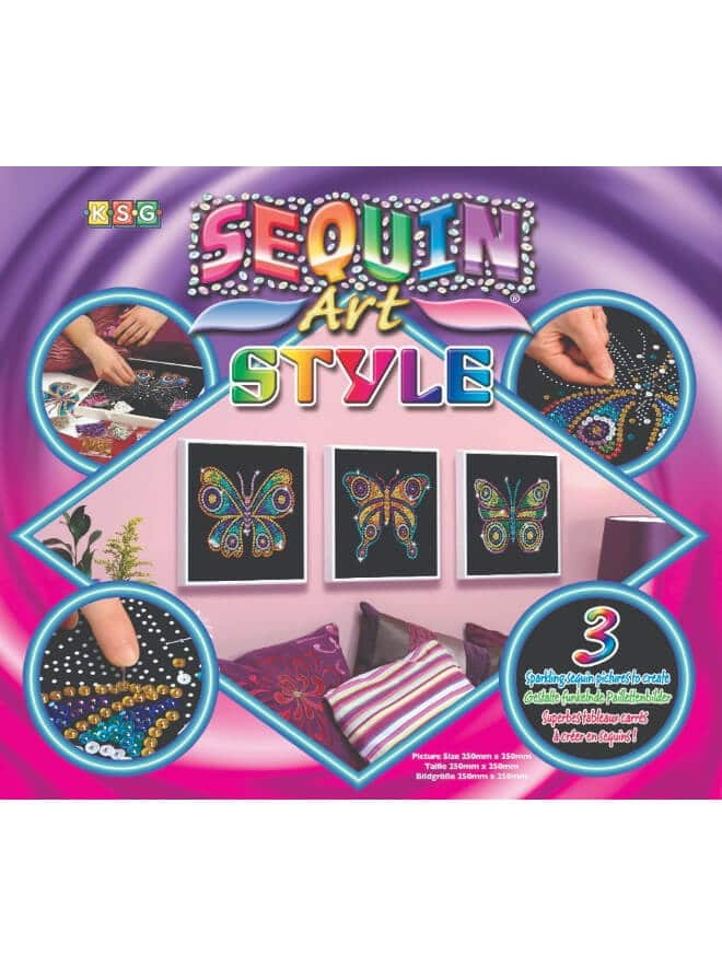 The Butterflies box is a three piece project from our Sequin Art Style Range.