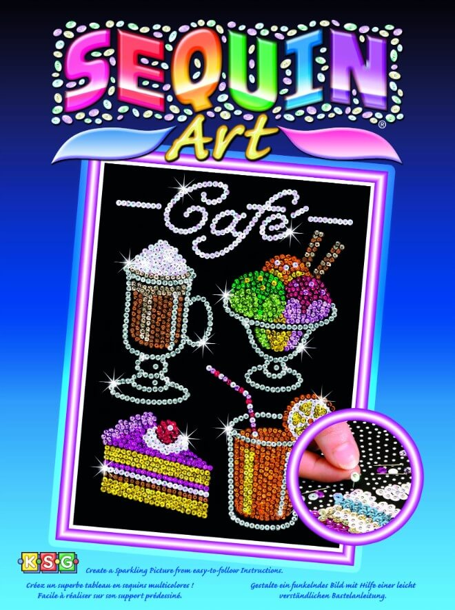 Box cover for the Cafe design from our Sequin Art Blue Range
