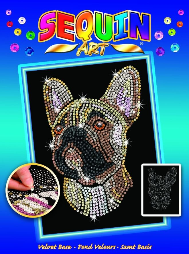 Box Cover of the French Bulldog design from the Sequin Art Blue Range