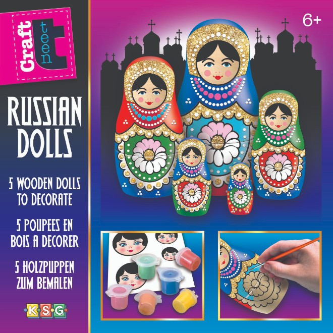 Decorate your own Baboushka Glitter Russian Dolls.