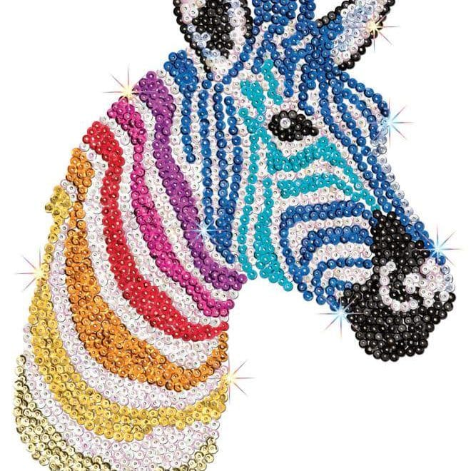 Zebra is part of a three piece project from our Sequin Art Safari range.