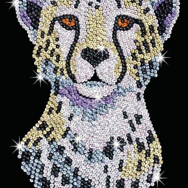 The Snowy Cheetah design is part of our Sequin Art Blue range