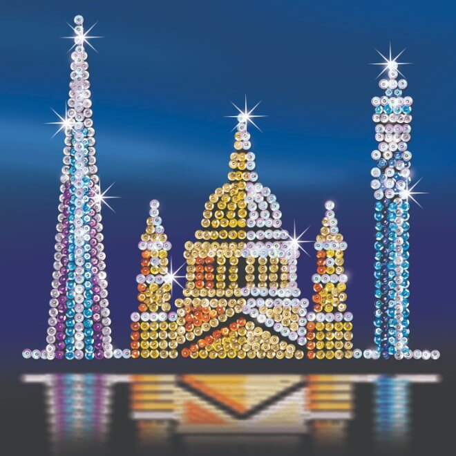The London Skyline Sequin Art contains three individual projects