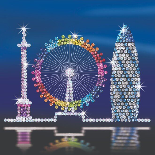 The London Skyline from the Sequin Art Style range contains three individual projects