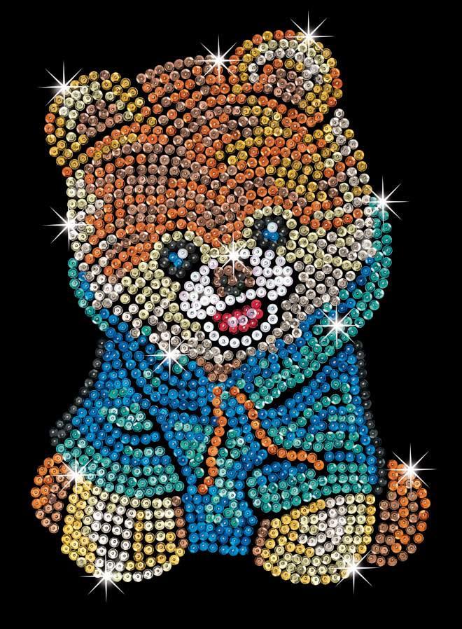 Teddy Bear Dog Sequin Art