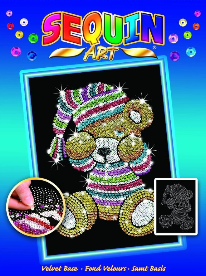 Adorable Teddy design from the Sequin Art Blue Range