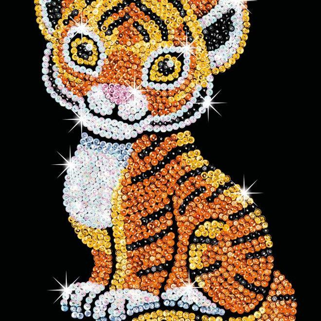 Tia the Tiger is part of our Sequin Art Red range
