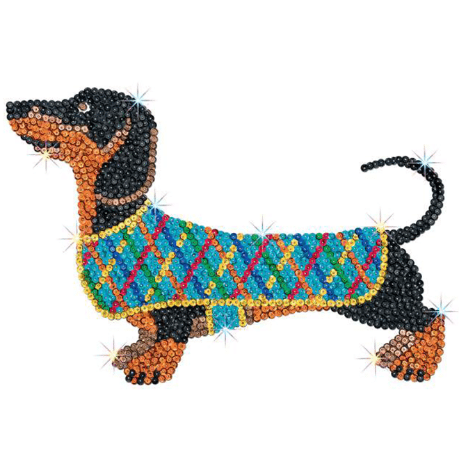 Darcey the Dachshund is from our Sequin Art Red range