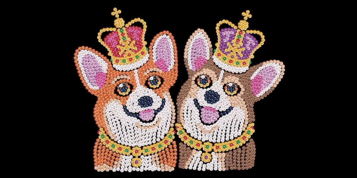 Spick and Span Corgis from the Sequin Art Red Range