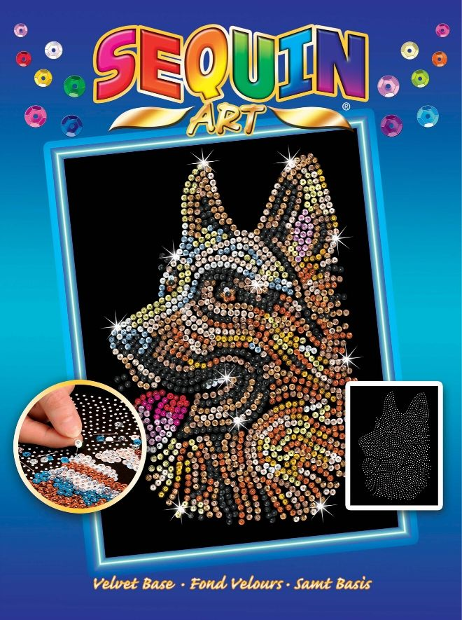 Sequin Art German Shepherd dog craft kit from the Blue collection
