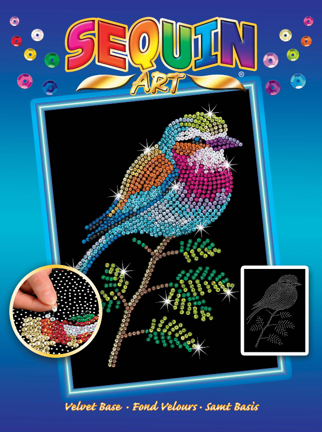 Sequin Art Lilac Breasted Roller craft project from the Blue range