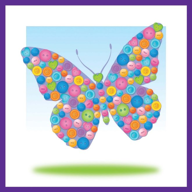 Colourful Butterfly design from Button Art