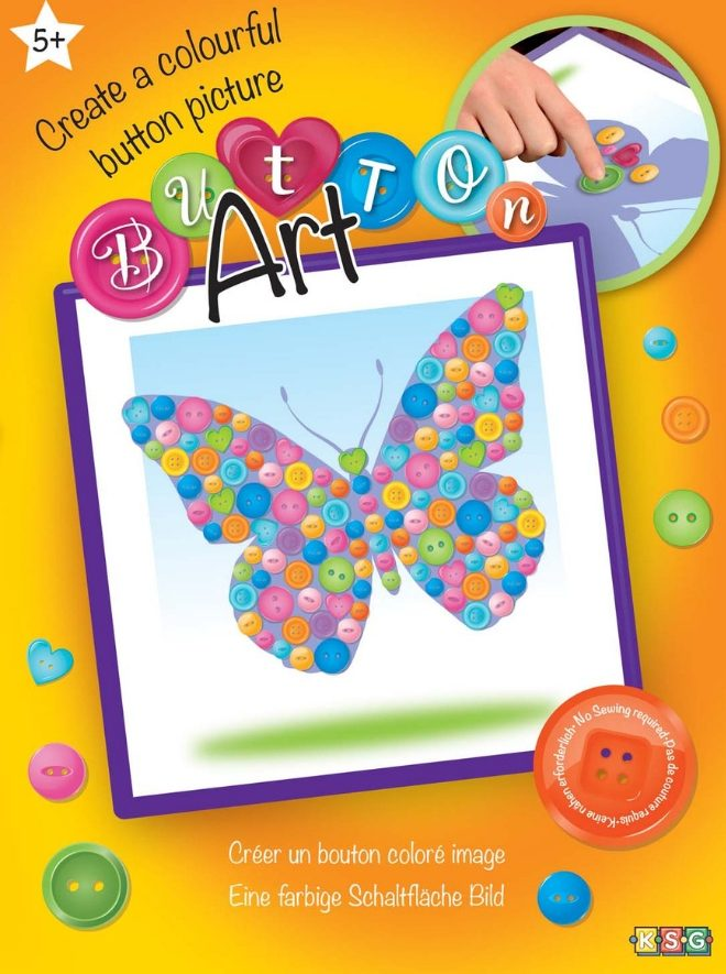 Create a stunning Butterfly using colourful buttons