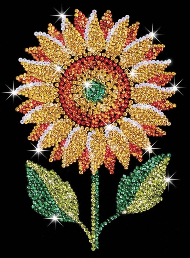 Sparkly Sunflower from the Sequin Art Blue range