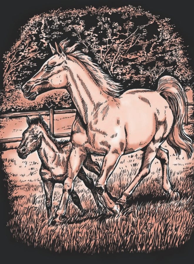 Artfoil Copper Horse And Foal design