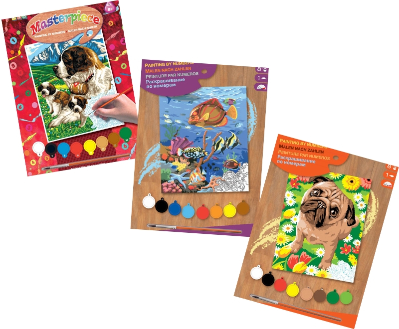 This bundle includes three Junior Painting By Numbers projects