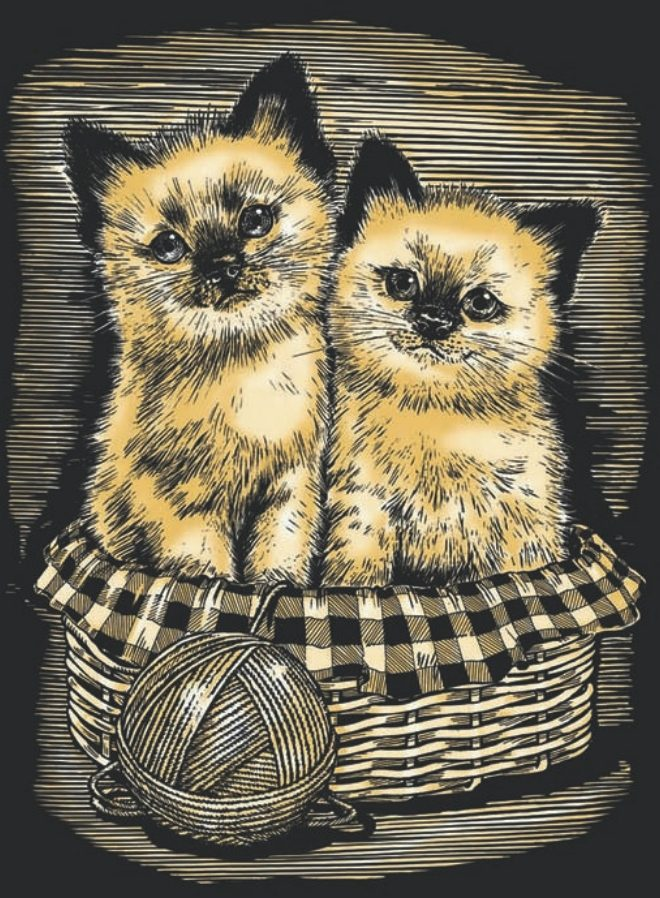 Artfoil Gold adorable Kittens design