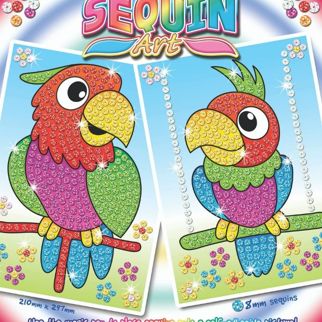 Laser Sequin Art Parrots Box