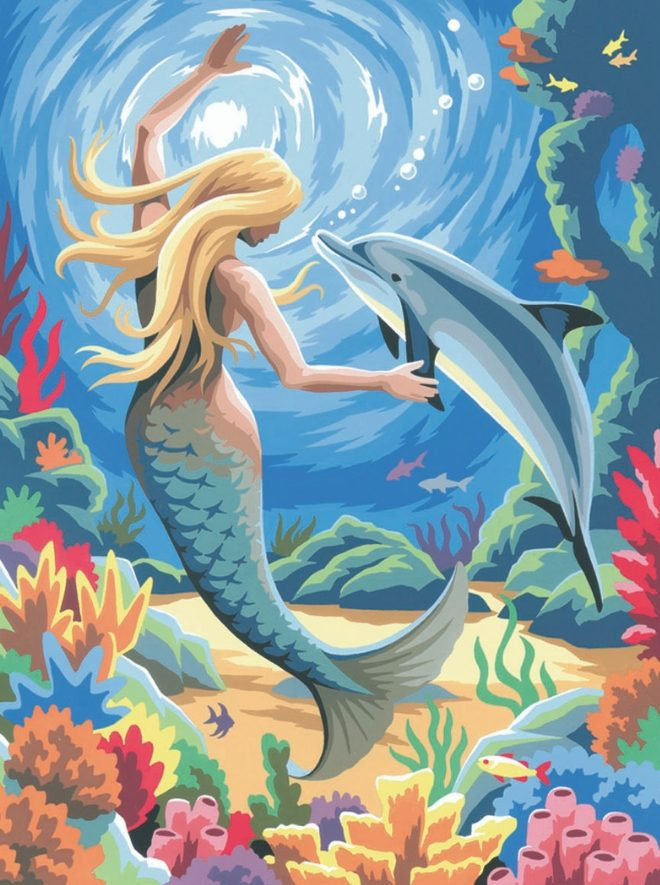 Mermaid design from the Junior Painting By Numbers