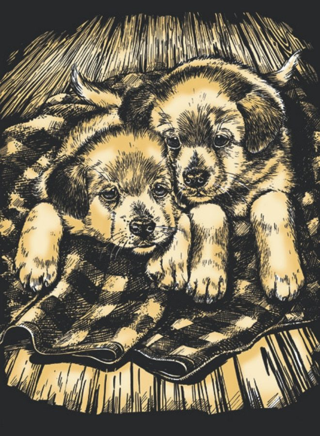 Artfoil Gold Puppies design