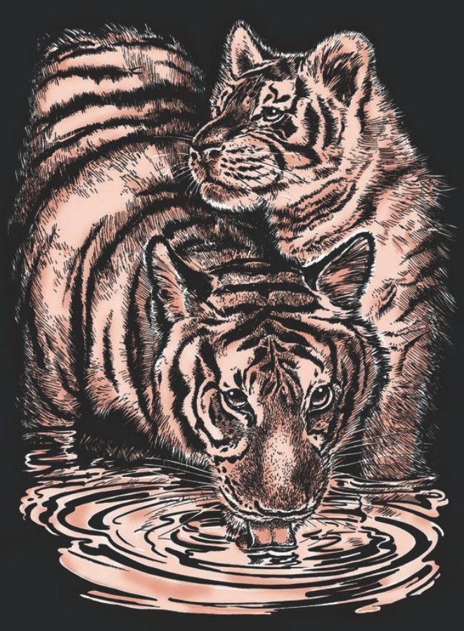 Artfoild Copper Tiger & Cub Design