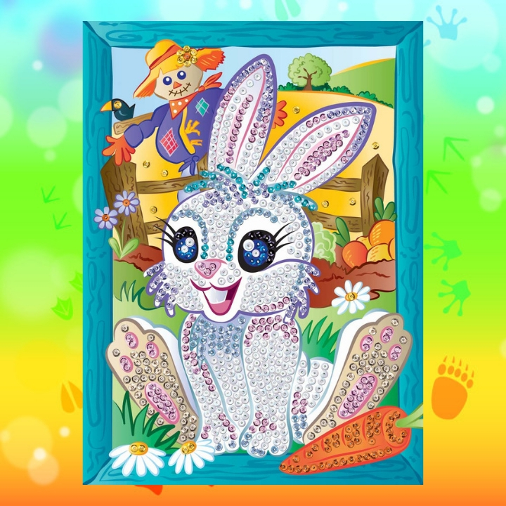 A beautiful white bunny Munch from the Sequin Art Smoogles family