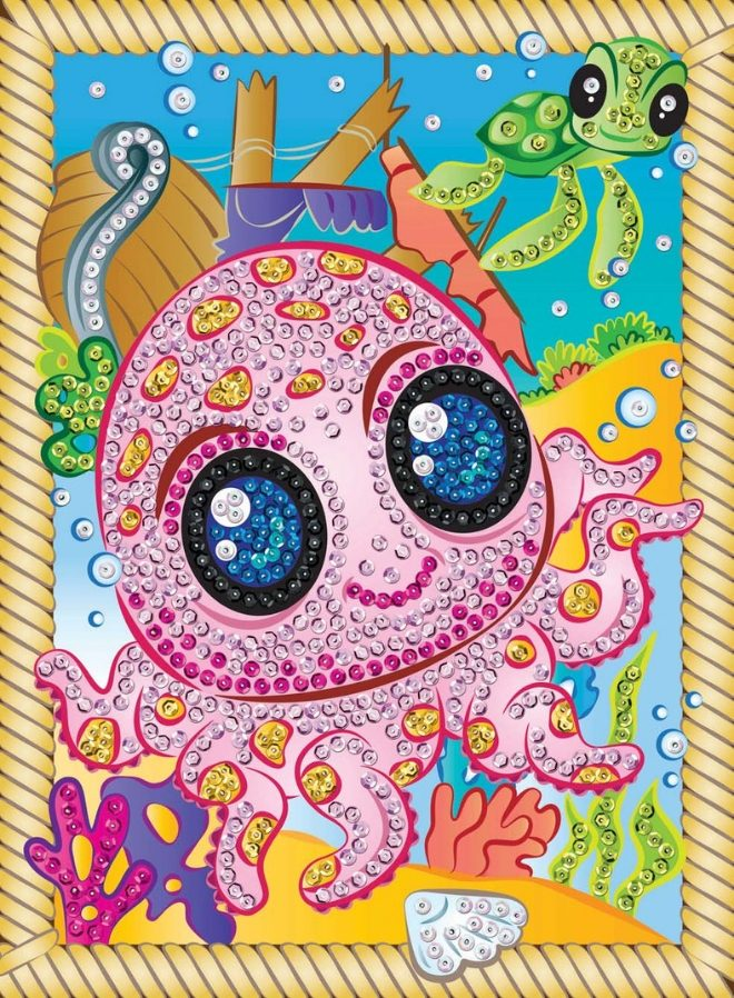 Cute baby octopus called Splash is from the Sequin Art Smoogles Range