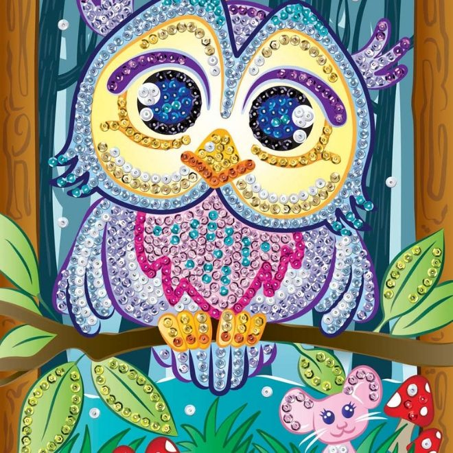 Vibrant Owl Hoot design from the Sequin Art Smoogles collection