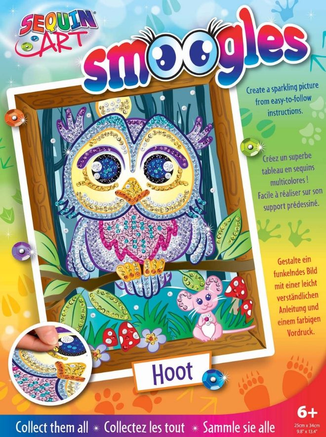 Owl Hoot design from the Sequin Art Smoogles Range