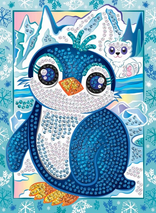 Friendly Penguin Pip from the Sequin Art Smoogles Range