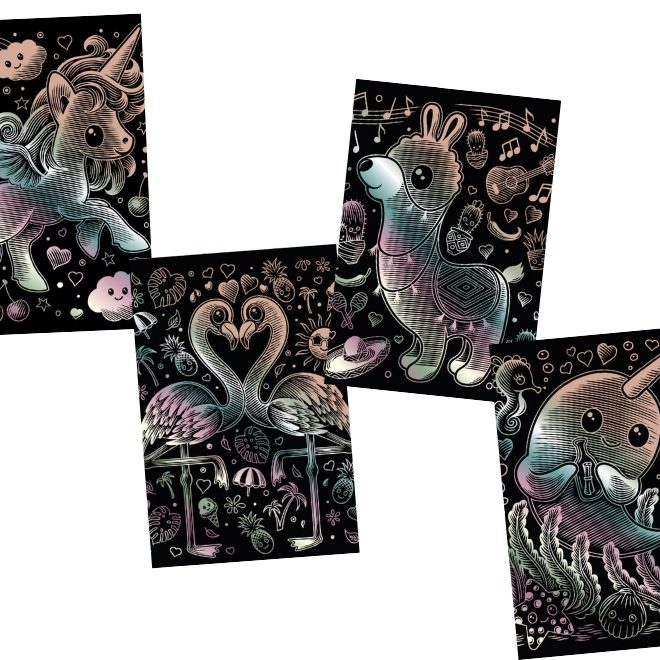This scratch art bundle features unicorn, llama, narwhal and pink flamingos