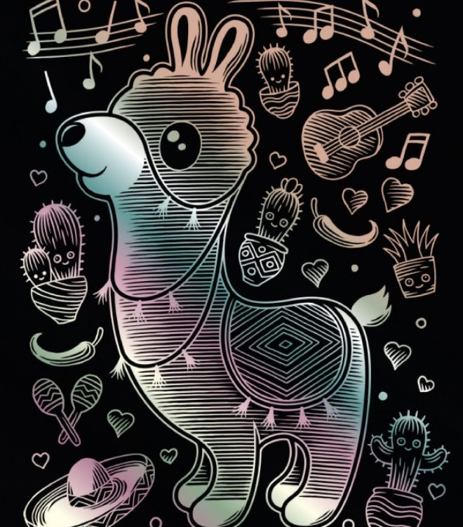 Llama design from the Kawaii Scraper Holographic collection