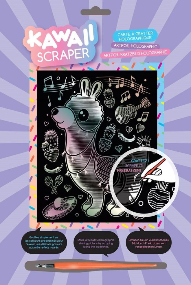 Scratch Art Llama design from the Kawaii Scraper Holographic range