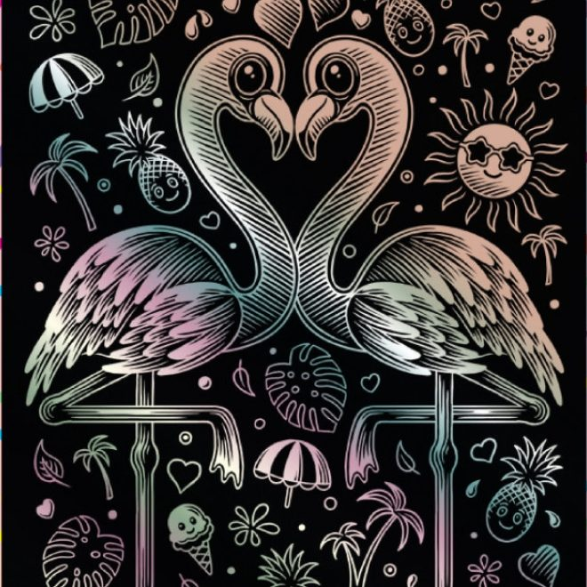 the adorable Pink Flamingo from the scratch art range