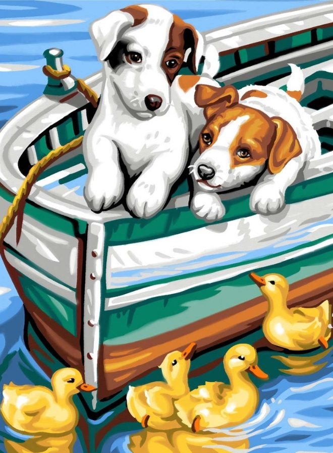 Junior Painting By Numbers playful Puppies & Ducks design