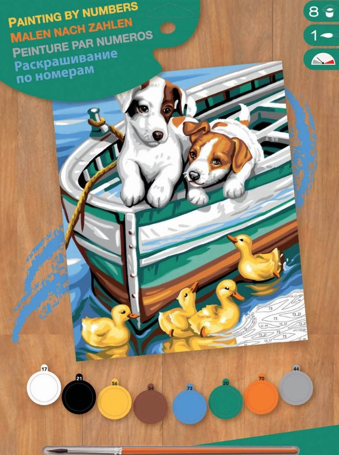 Painting By Numbers Puppies and Ducks Box