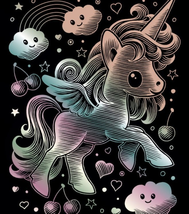 Playful Unicorn design from our Kawaii Scraper collection