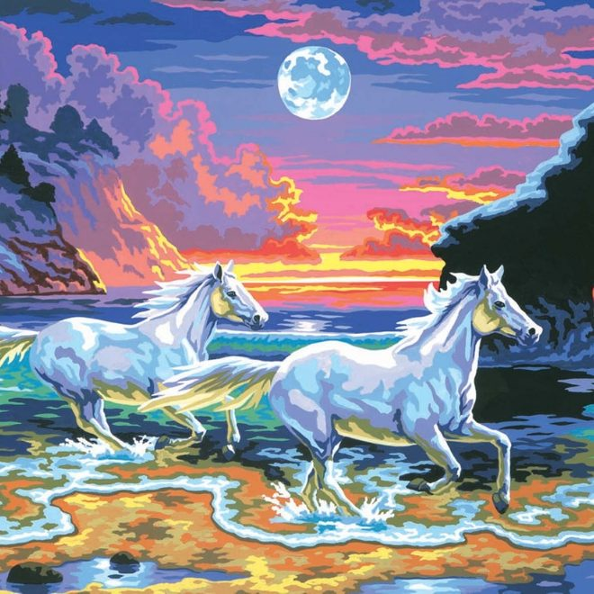 Painting By Numbers Horses In The Surf design