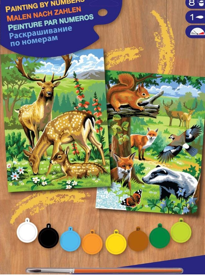 This Painting By Numbers project featured two Woodland Animals designs